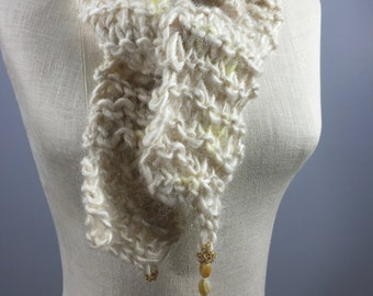 Wearable Art, Soothing Self-Care Wrap-Yellow Botswanna Agate Beads and Shells on a Hand Spun Natural Yearling Empowerment Stole
