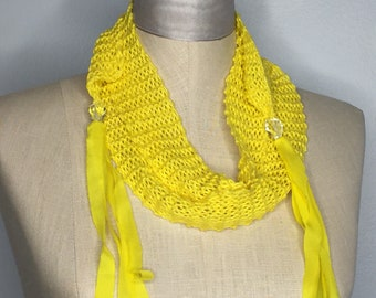 Yellow Cotton Tiny Width Long Length Wrap with Hand-dyed Silk Ribbon Dancing from Quartz Beads- OOAK Wearable Art