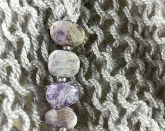Soothing Self-Care Wrap, Wearable Fiber Art-Purple Crazy Lace Agates on a Lavender Gray Cloud Soft Merino and Silk Mindfulness Mantle