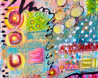"""Original abstract mixed media painting acrylic bright colorful 11x14 canvas . """"Life is Sweet"""""""