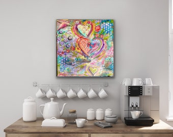 Abstract Hearts Birds Coffee Spoon Original Mixed Media acrylic painting  on  20x20 by .75 inch canvas