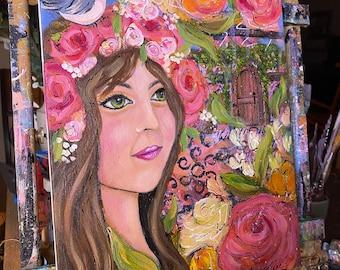 Secret Garden girl mixed media  painting original 11X14 acrylic on canvas Free shipping