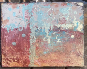 """Original Abstract """"Explorers"""" Acrylic green and gold painting on 11x14x.75 canvas"""