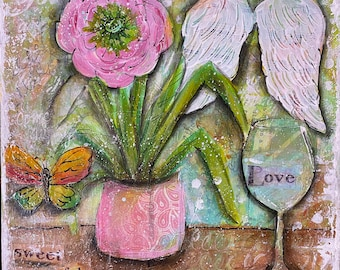 Love is Freedom- original mixed media acrylic painting  on  10x10x.75 inch canvas