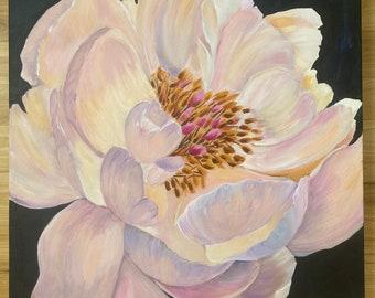 Large pink peony original acrylic painting on 20x20x 1.5 inch canvas