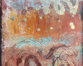 """Original Abstract Acrylic turquoise brown and gold painting """"Legends"""" on 11x14x.75 canvas"""