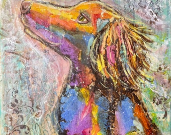 Dreamwatcher....original Mixed Media painting on 11x14x.75 cancmvas...Lily loves watching birds out the window...she lights up !