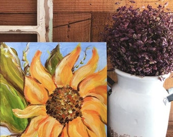 Sunflower original  acrylic painting  on  6x6  gesso board free shipping