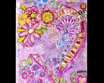 """Painting ...""""Sing Anyway""""..original mixed media abstract heart painting on a 12x16 canvas."""