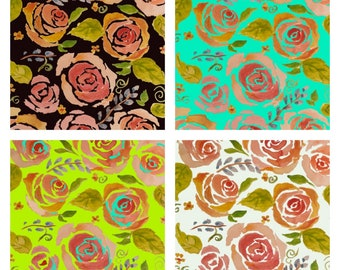 Digital Art Pink Roses on 4 colors of Background Printable 8x 10