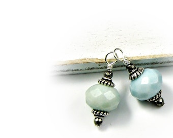 Earring Pendant Charm; Interchangeable Amazonite dangle wrapped in Sterling Silver; Amazon Jade Pendant; Good Luck Pendant Workplace Jewelry