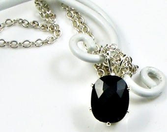 Black onyx Pendant; Silver Necklace; Small Delicate Gemstone Necklace; workplace jewelry; Bridesmaid Anniversary Birthday Gift for Her