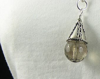 Faceted Smoky Quartz Wire Wrapped in Sterling Silver Pendant Necklace; Cone Shaped Gemstone Pendant; Healing Pendant; workplace Jewelry