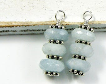 Gemstone Charm; Interchangeable Blue Aquamarine dangle wrapped in Sterling Silver; Workplace Jewelry; Birthday Gift for her; Healing Charm