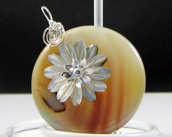Translucent Brown Agate Donut Shell Daisy Pendant Wire Wrapped in Sterling Silver; Anniversary Birthday gift for her Ooak Workplace Jewelry