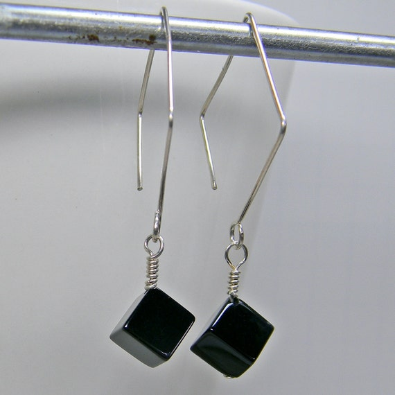 New Fashion Women/'s 10 mm Natural Black Agate Onyx Leverback Boucles D/'oreilles