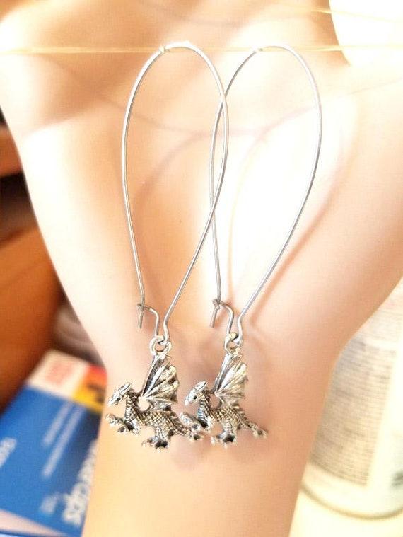 silver dragon earrings, long dangles, fantasy fairytale jewelry
