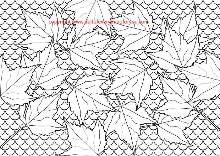 Fish Scales Fall Leaves Coloring Page Abstract Nature Art Leaf Pattern Line Printable Pages To Print Out