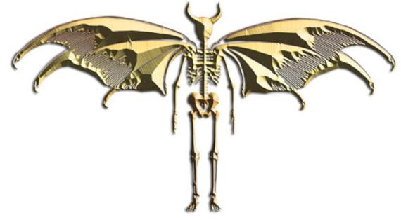 gold silhouette Devil Demon skeleton printable wall art clipart png jpg digital image goth horror graphics instant download