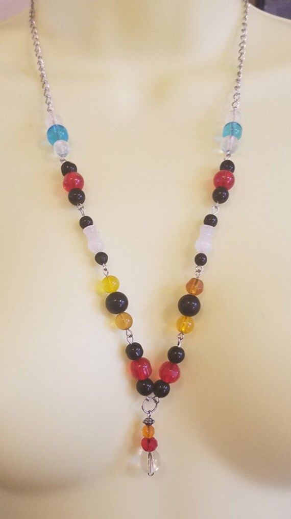glass beaded necklace multi color handmade bead necklace chain fashion beaded jewelry
