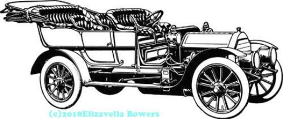 antique convertible car printable wall art download clipart digital image jpg png graphics downloadable digital stamp coloring page