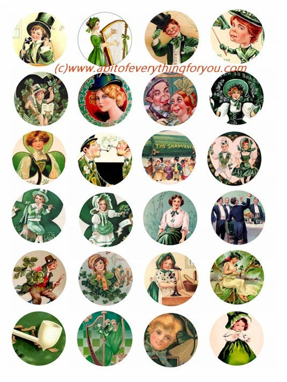 saint pattys day st patricks day irish clip art digital download collage sheet 1.5 inch circles vintage graphics images printables pendants