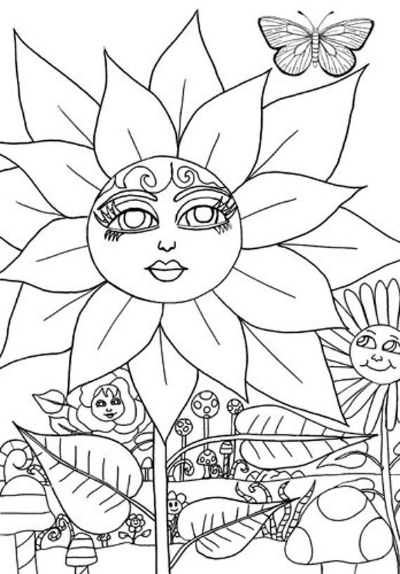 Magical Flower Fairyland coloring page digital download image graphics printable original art black and white line art