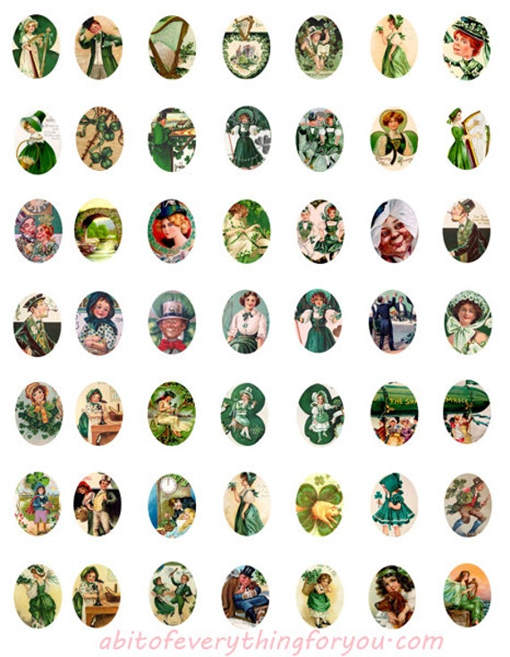 saint pattys day st patricks day irish clip art digital download collage sheet 18mm x 25mm ovals vintage graphics images printables pendants