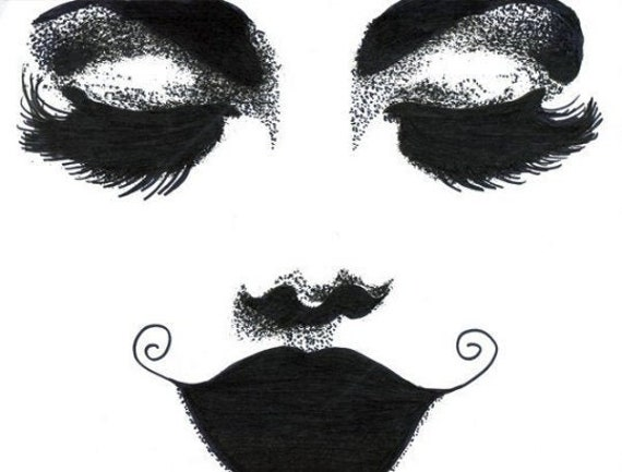 long lashes dark lipstick womans face original art ink drawing makeup pop art fashion modern black and white artwork By Montana Artist