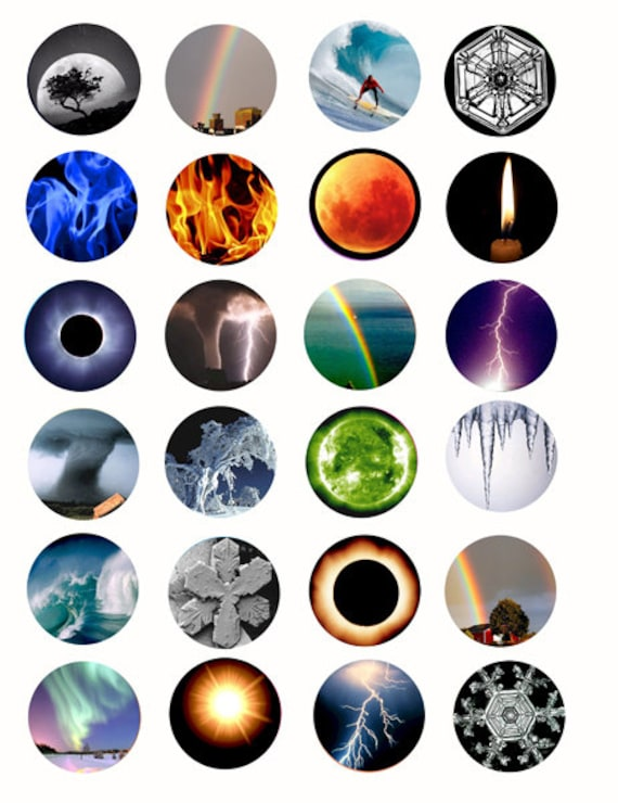 the elements weather storms collage sheet printables 1.5 inch circles clip art digital download graphics eclipse images craft pendant pins