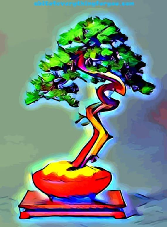 Chakra Aura Bonzai tree Abstract printable art clipart jpg download digital image graphics downloadable nature zen artwork