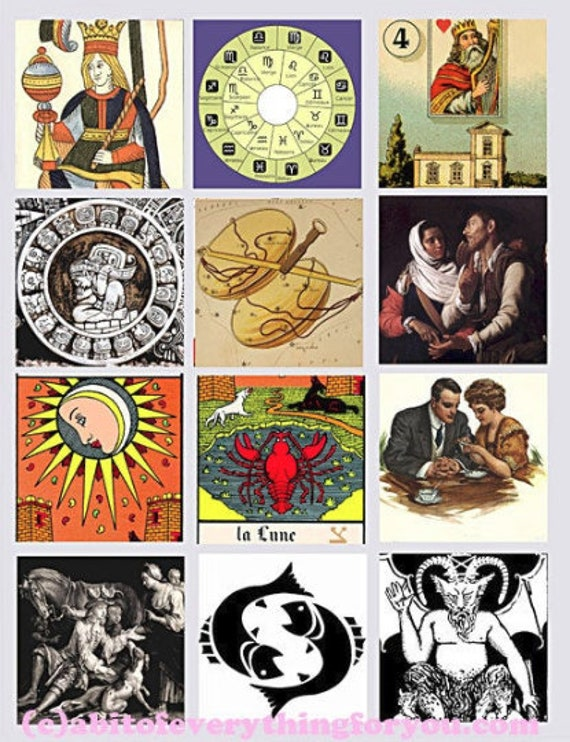 ZODIAC TAROT Cards Fortune tellers vintage printables art clipart digital downloadable collage sheet 2.5 inch squares images DIY Crafts