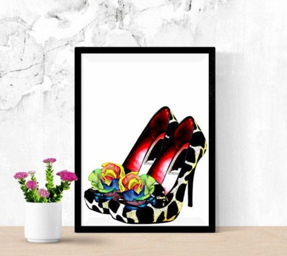 giraffe animal print high heel shoes rainbow roses art clipart png download digital image graphics printable fashion instant downloadable