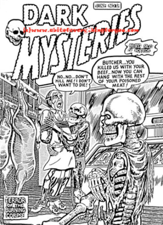 skeleton zombies horror comics art horror coloring page printable art download digital image graphics black and white comics