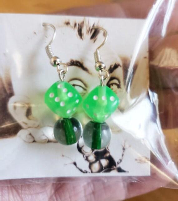 green dice bead drop earrings dangles acrylic glass bead handmade jewelry