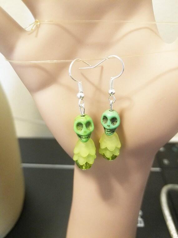 green skull flower earrings sugar skull earrings turquoise skull bead dangles skeleton jewelry day of dead handmade
