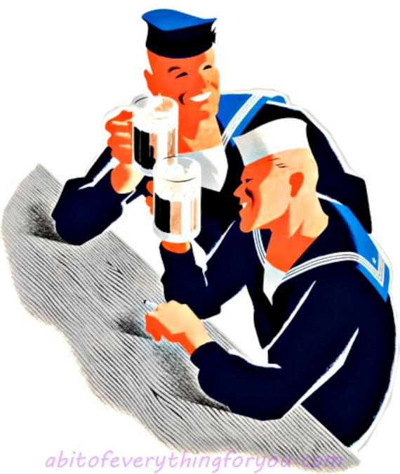 printable digital downloadable art sailors drinking beer war propaganda clipart png download military graphics images diy crafts