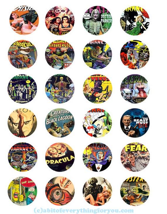 horror comics monster movie posters collage sheet clipart digital download 1.5 inch inch circles graphics vintage images printables