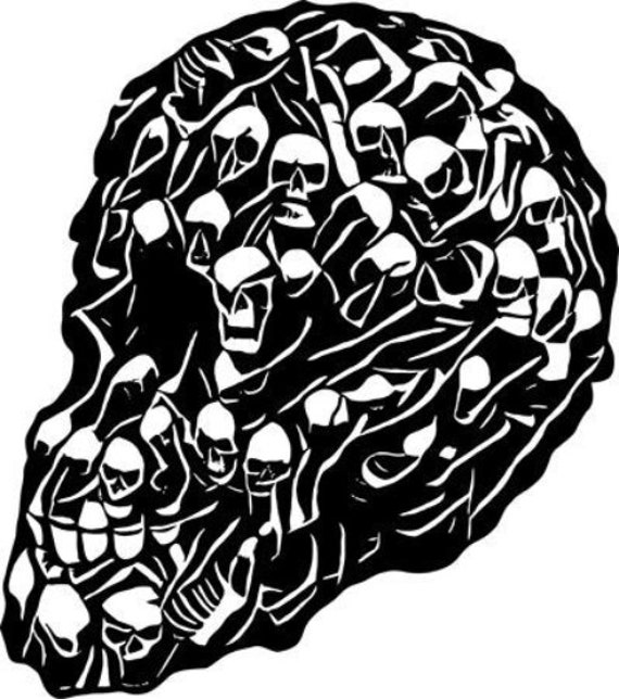 skull with faces png jpg horror goth art clipart printable wall art instant download transfers digital image graphics downloadable