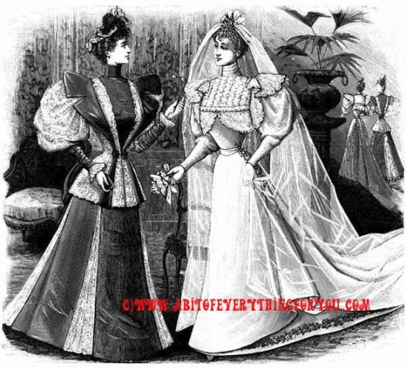 victorian bride wedding clipart png printable art download digital fashion image graphics black & white artwork