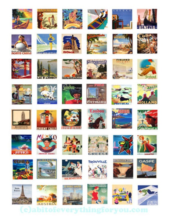 """vintage vacation world travel art posters clipart digital download collage sheet 1"""" inch squares graphic images printable diy jewelry making"""