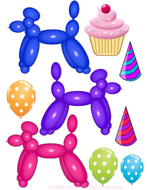 dog balloons cupcake party clipart png printable art digital download image balloon animals graphics die cut, Cut outs