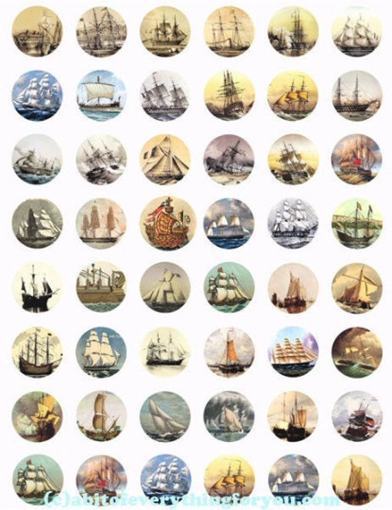 vintage sailing ships boats ocean printables clipart digital download collage sheet 1 inch circles nautical graphics images DIY printables