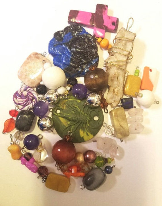 36 clay stone pendants charms glass plastic and wood bead drops mixed lot jewelry supplies