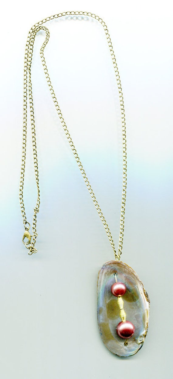 clam shell long necklace pearl necklace nautical jewelry bronze chain metal nature jewelry handmade sea witch