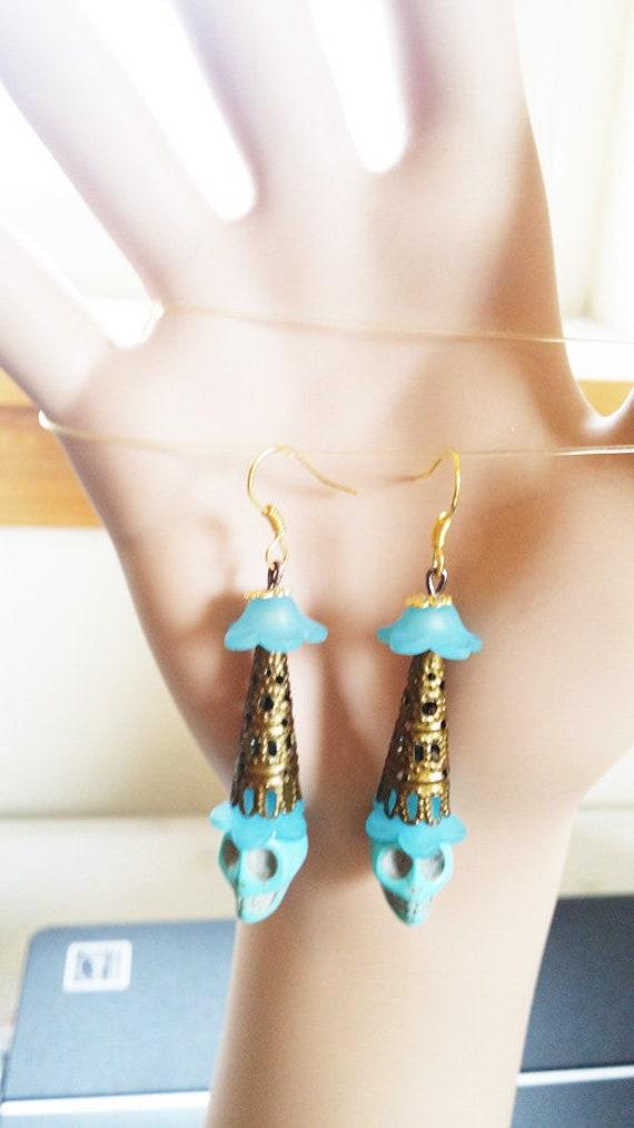 blue turquoise sugar skull earrings long dangles stone bead earrings day of dead goth jewelry