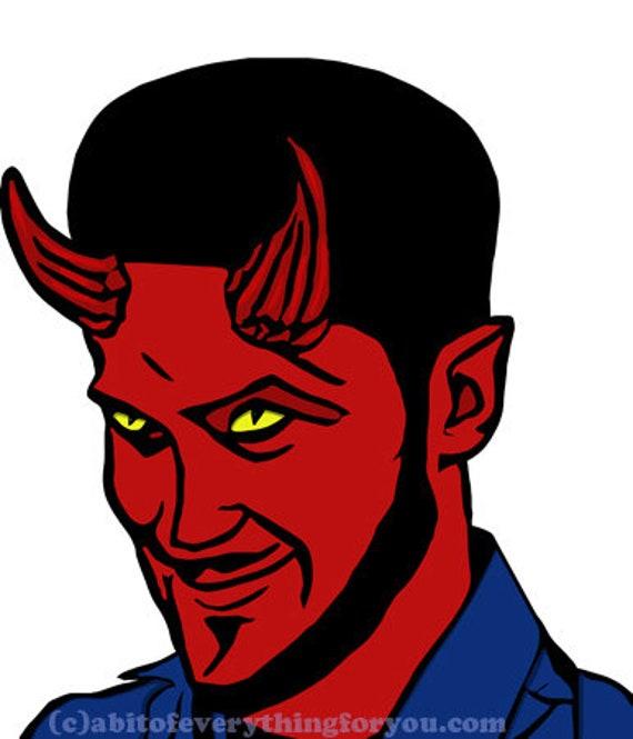 red Devil Man Lucifer Demons printable art clipart png jpg svg vector digital download image goth horror graphics