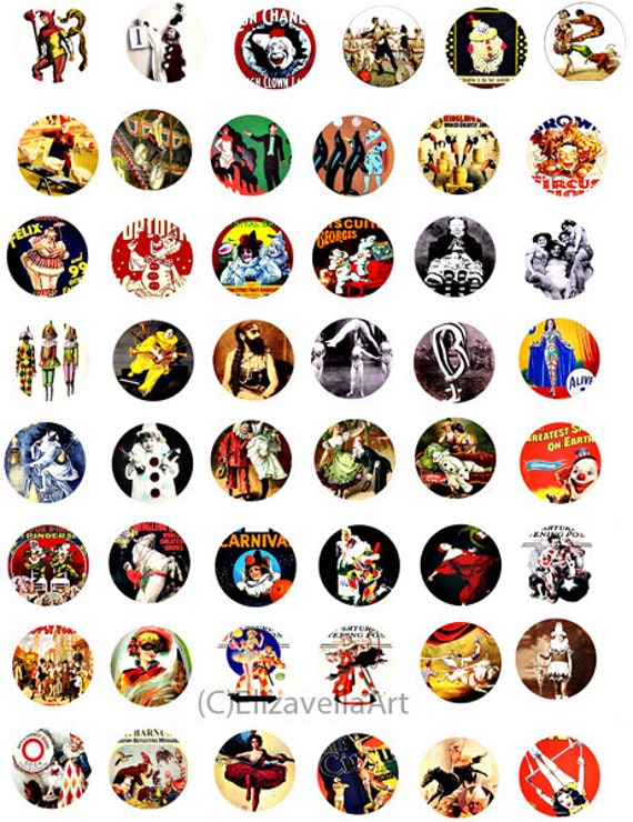 vintage circus posters clip art collage sheet digital download 1 inch circles graphics carnival images craft printables pendants
