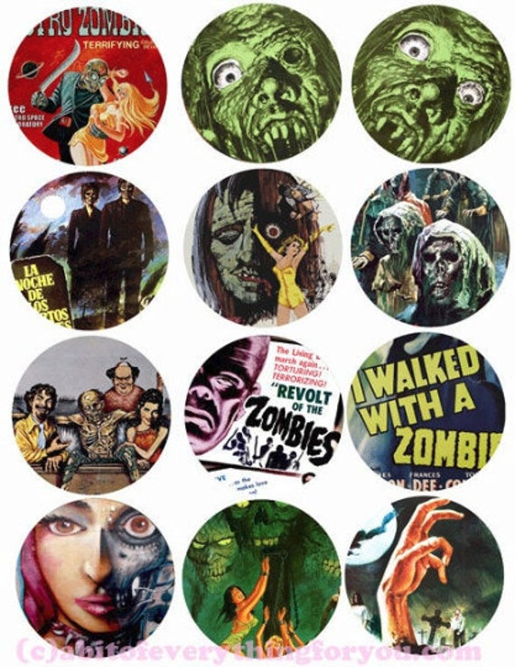 printable zombies undead ghouls digital downloadable collage sheet clipart 2.6 inch circles movie posters DIY jewelry making pendant images
