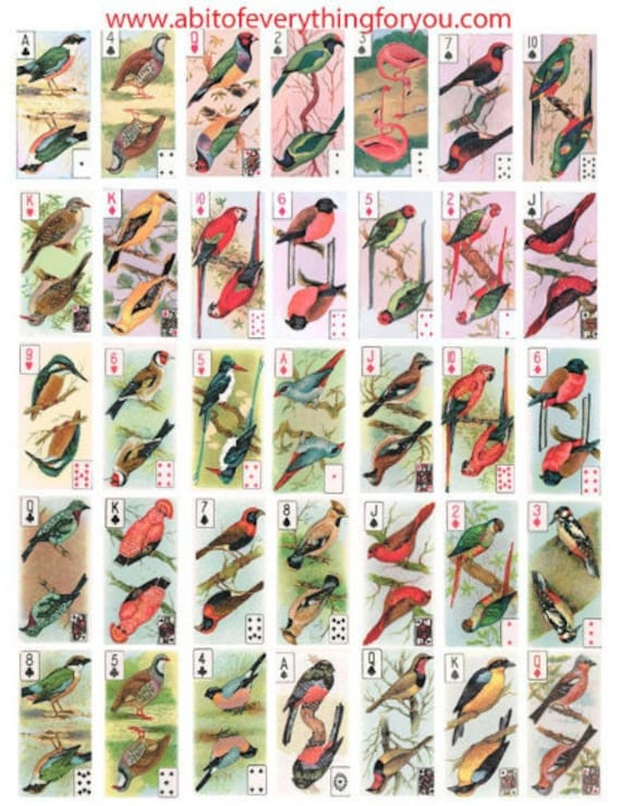 "vintage birds playing cards clip art digital download domino collage sheet 1"" x 2"" inch graphics images printables for pendants pins magnets"